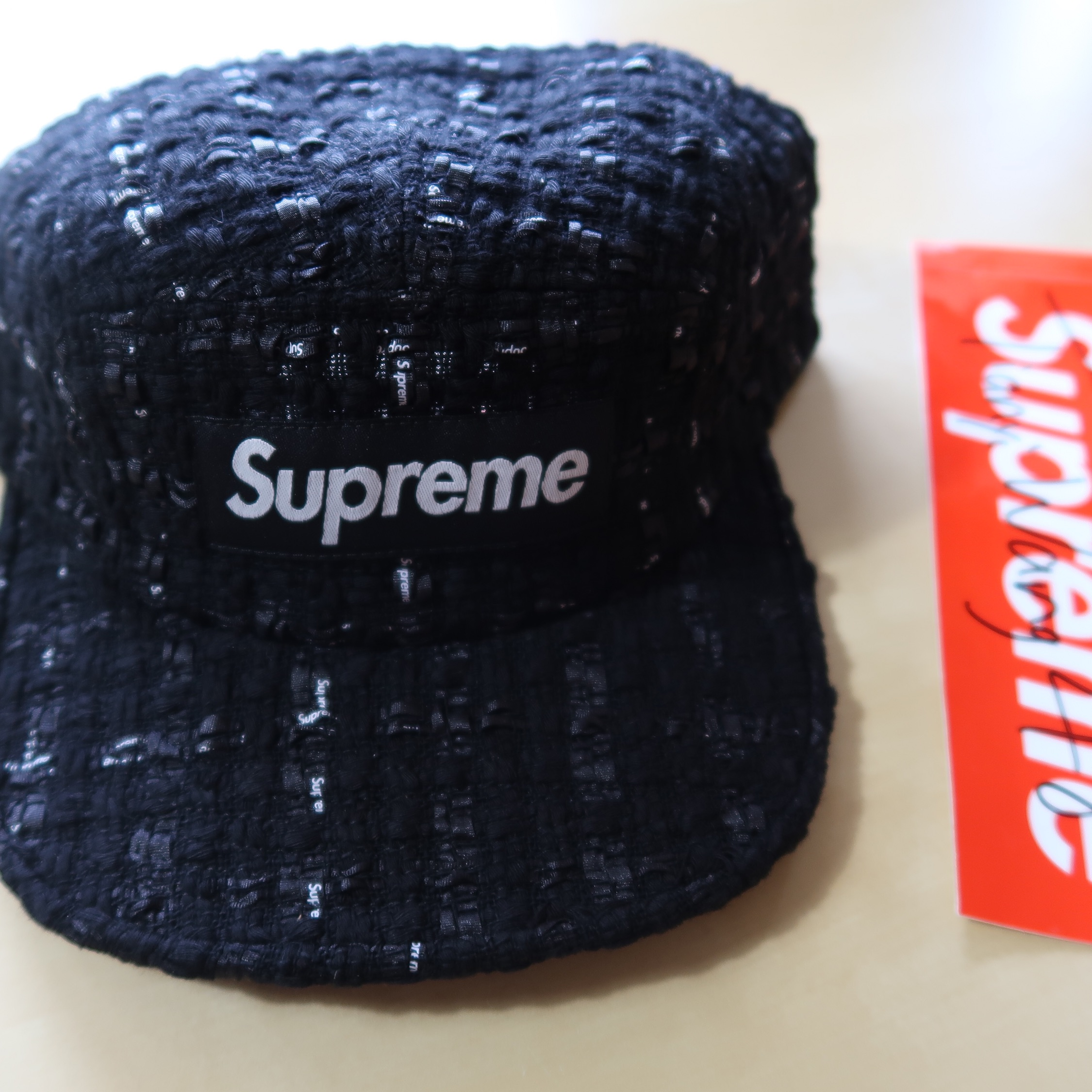 Supreme Ribbon Boucle Camp Cap Black