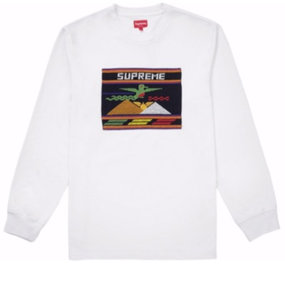 Supreme Needlepoint Patch L/S Tee White