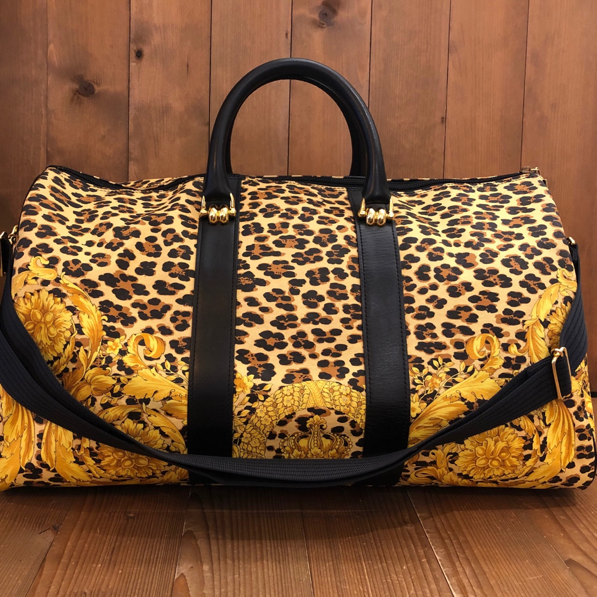Authentic Gianni Versace Leopard Canvas Duffle Bag