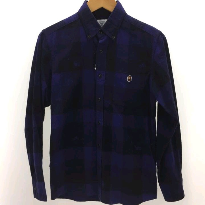 Bape Shirts Navy Long Sleeves Checkered Pattern
