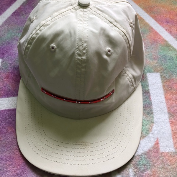 Supreme Cap White And Red Bar