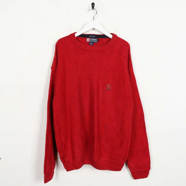 Vintage CHAPS RALPH LAUREN Small Logo Knitted Sweatshirt Jumper Red | Medium M