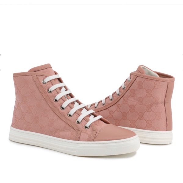 Gucci Pink Gg Canvas High Top Sneakers