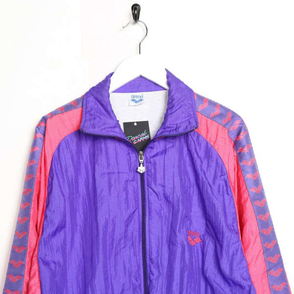 Vintage Women's ARENA Tape Arm Soft Shell Windbreaker Jacket Purple | XL