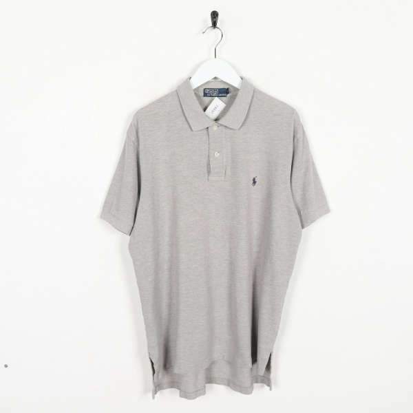 Vintage RALPH LAUREN Small Logo Polo Shirt Top Grey | Large L