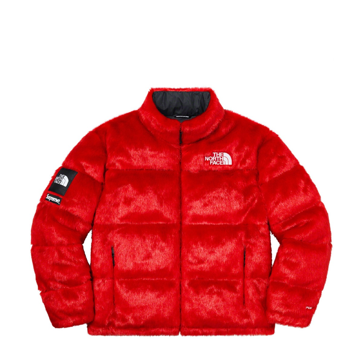 Supreme The North Face Faux Fur Nuptse Jacket Red