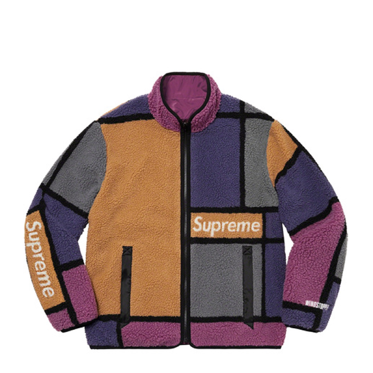 Supreme Reversible Colorblocked Fleece Jacket Purple