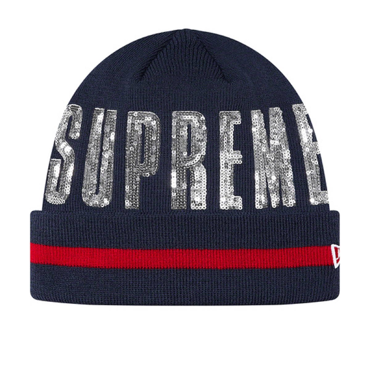 Supreme New Era Sequin Beanie Navy