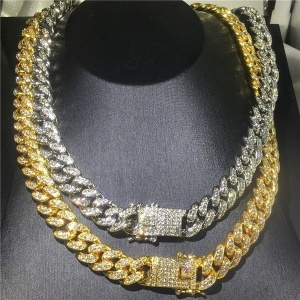 Mens Hip Hop Bling Cuban Link Chains Necklaces