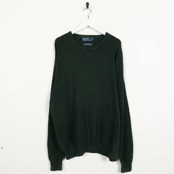 Vintage RALPH LAUREN Small Logo Knitted Sweatshirt Jumper Green | XL
