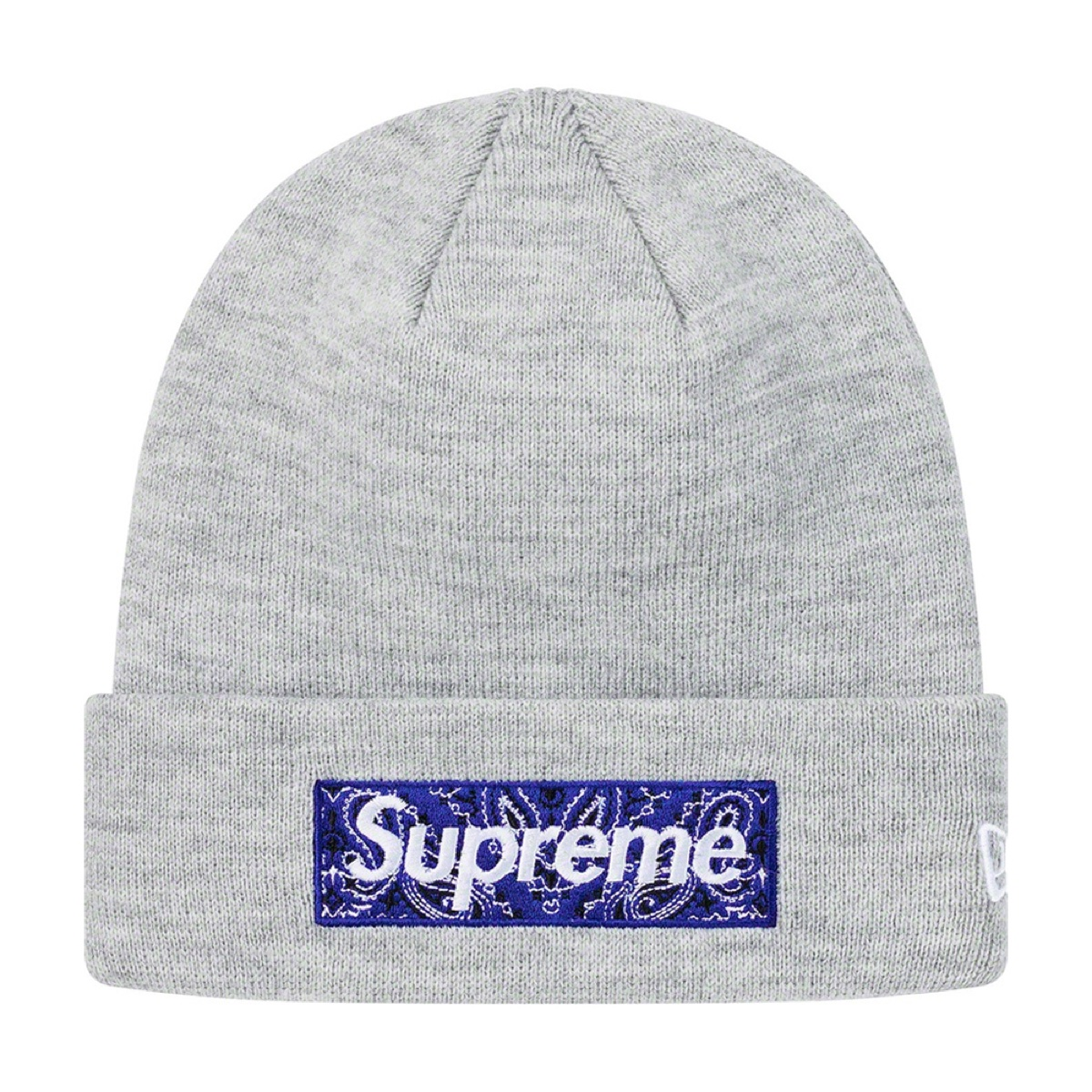 Supreme New Era Bandana Box Logo Beanie Grey