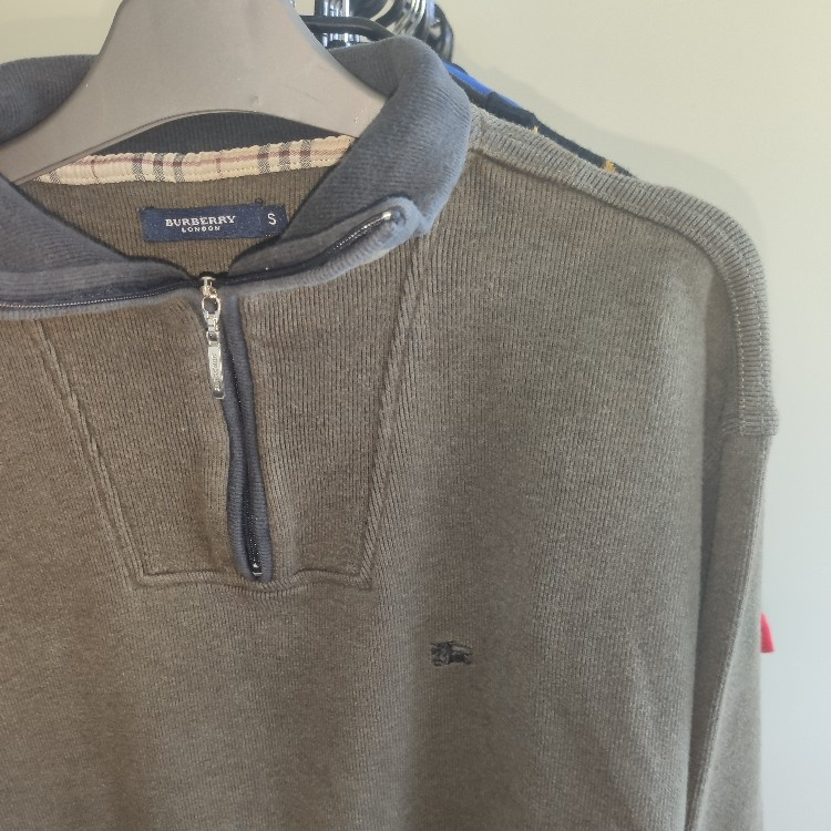 Burberry Half Zip Grey Fleece