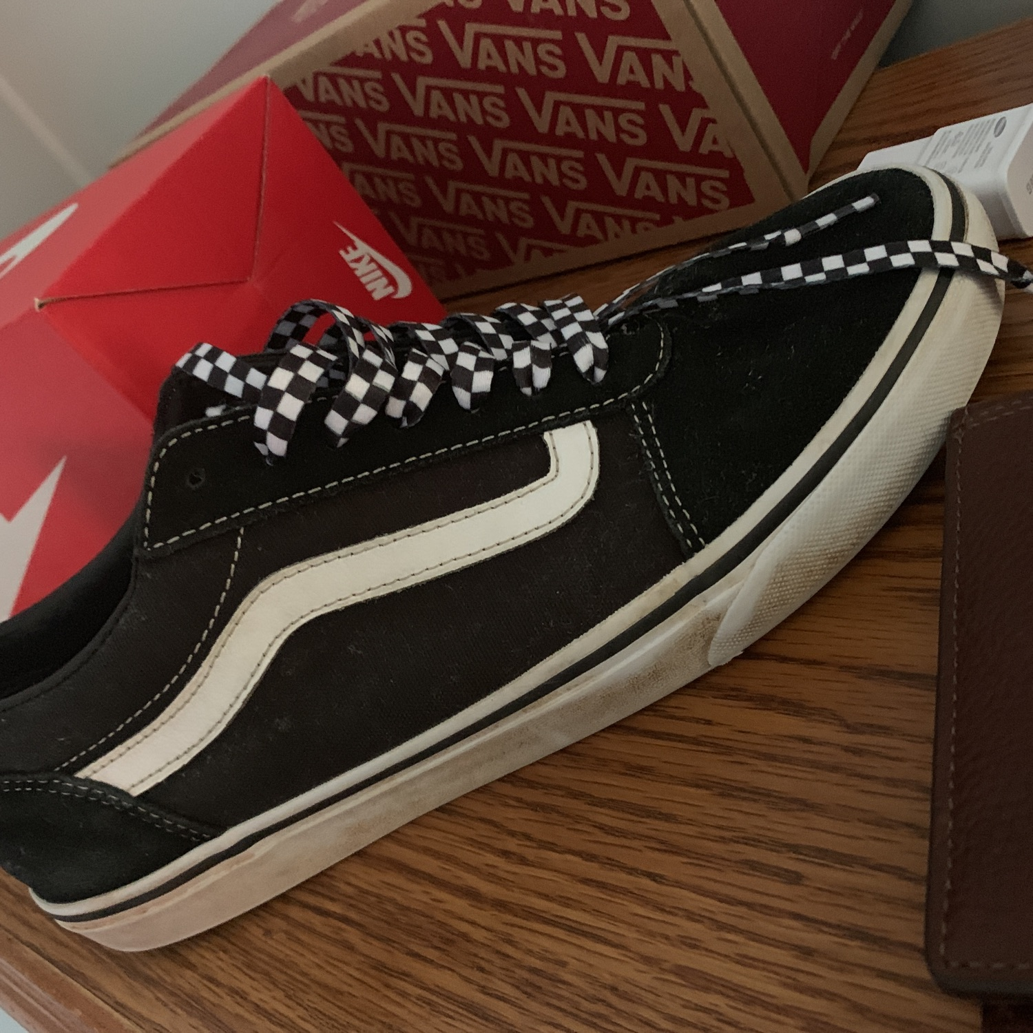 White And Black Vans With Custom Laces