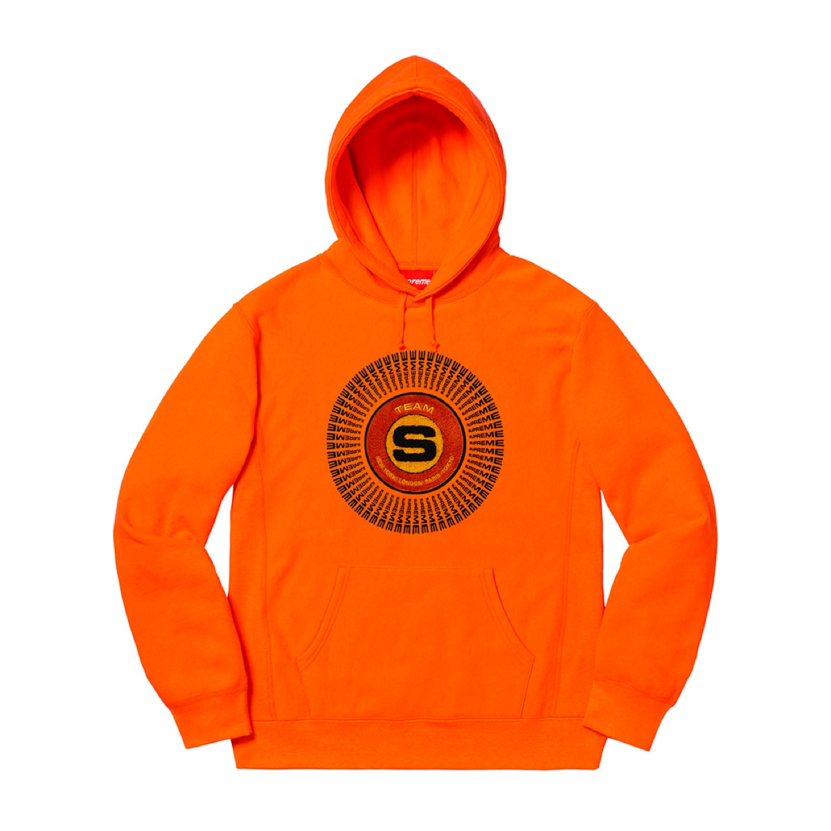 Supreme Chenille Appliqué Hooded Sweatshirt Orange