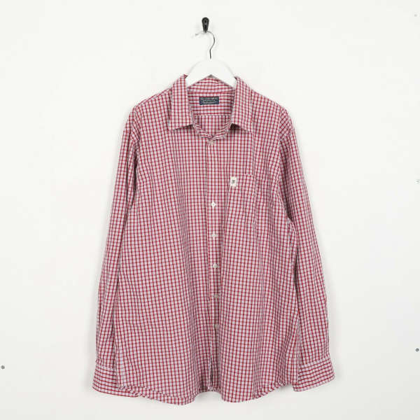 Vintage RALPH LAUREN Polo Jeans Co Small Logo Fine Check Shirt Red | XL