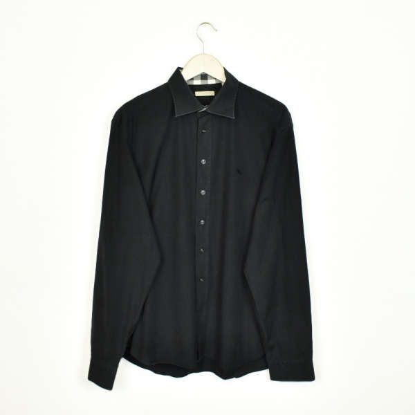 Vintage Burberry collared button-down shirt top blouse in black