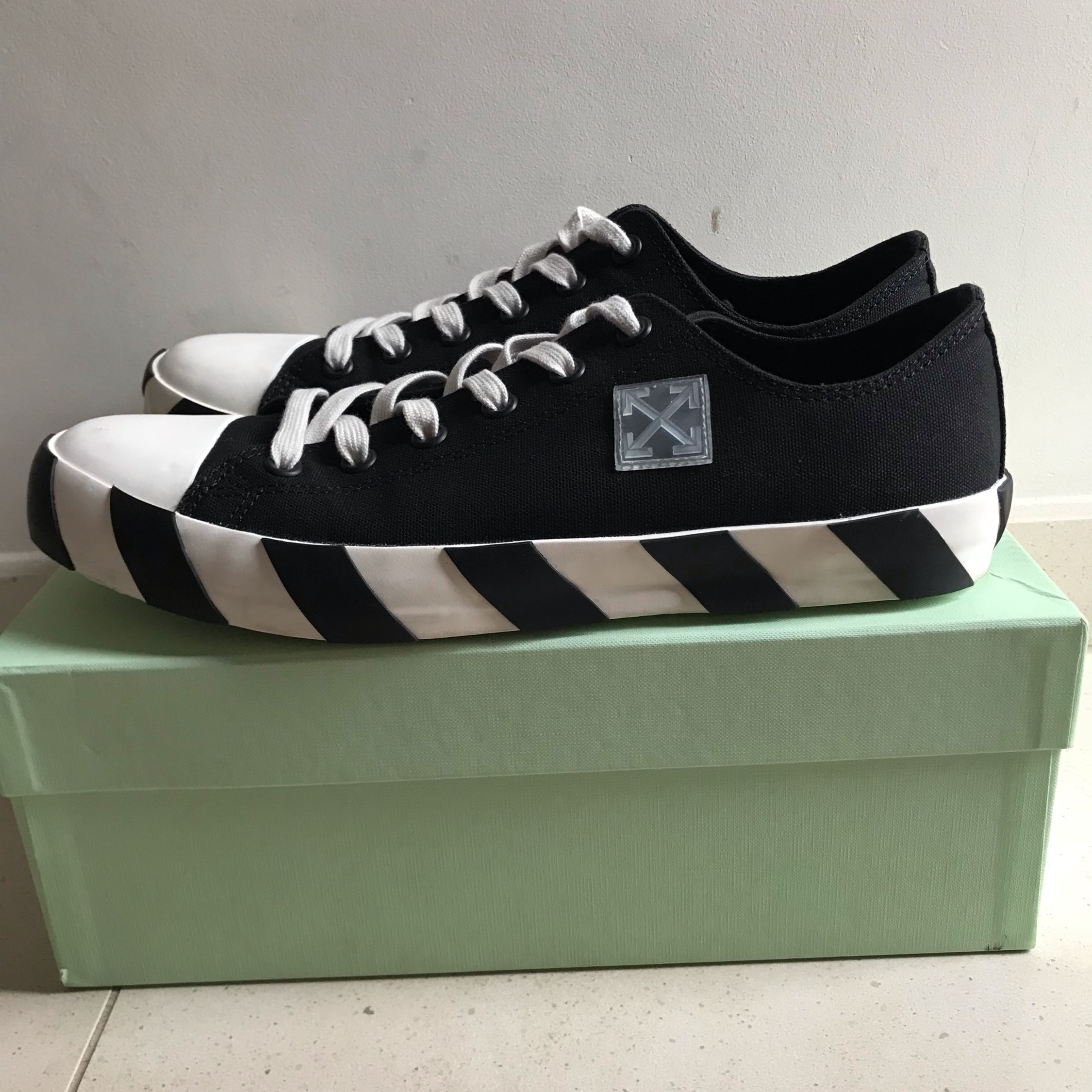 Off-White Striped Canvas Trainers Under Retail