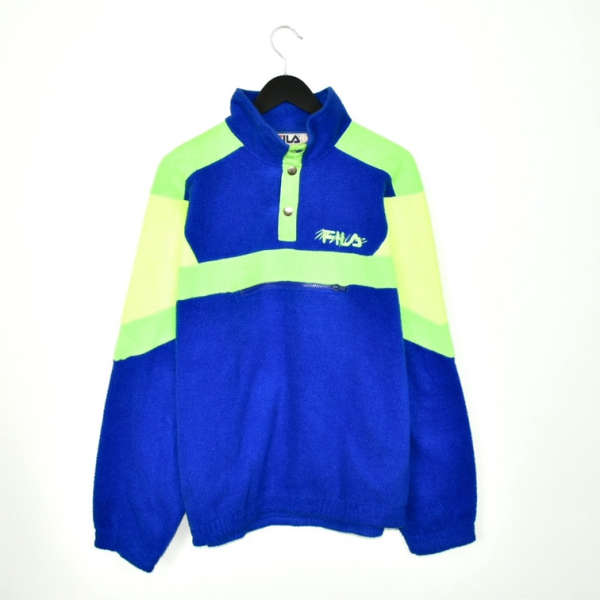 Vintage Fila quarter zip button up fleece tracksuit jumper pullover  trackie jacket sweater in bright blue green and yellow