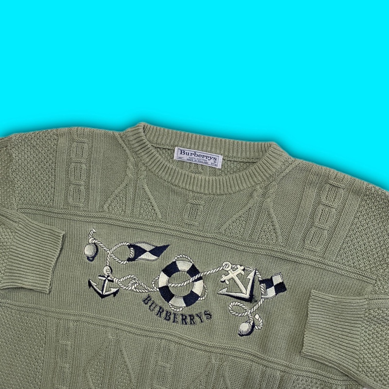 Vintage Green Burberry Spellout Sweater Jumper