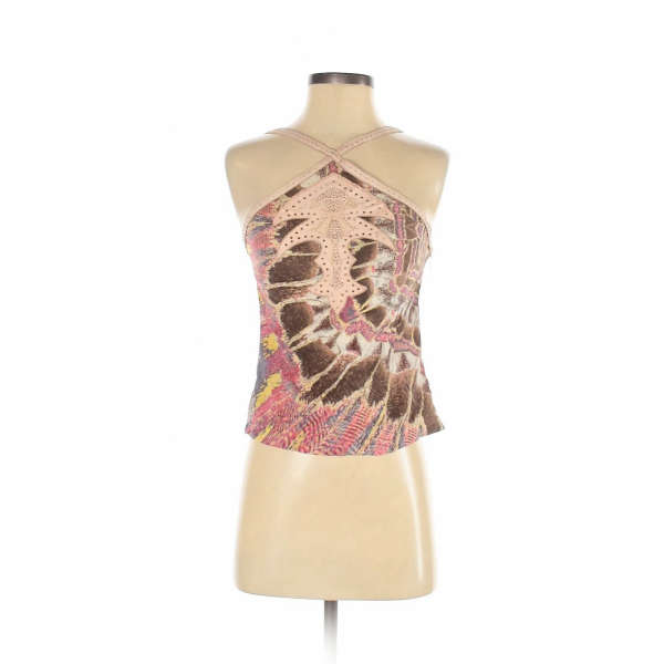 Roberto Cavalli Women Brown Sleeveless Silk Top S