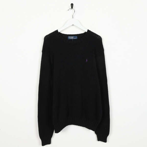 Vintage RALPH LAUREN Small Logo Knitted Sweatshirt Black | Large L