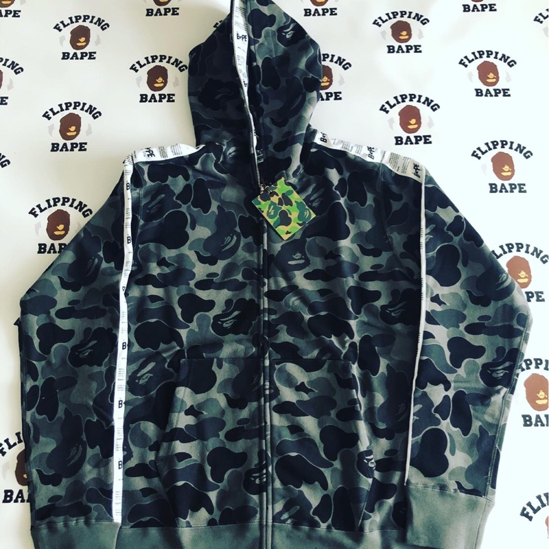 BAPE ABC Bape Sta Tape Full Zip Hoodie Black