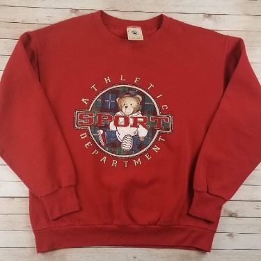 Vintage 1990s BOOT Polo Bear Sport Athletic Department Made In USA Delta Red Crewneck Sweatshirt