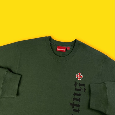 Supreme Independent Fuck The Rest Crew Olive Green