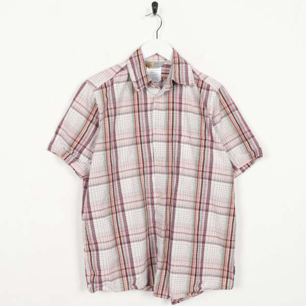 Vintage CARHARTT Short Sleeve Check Shirt Red White Small S