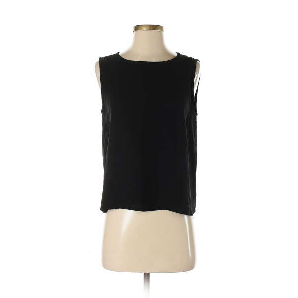 Eileen Fisher Women Black Sleeveless Silk Top S