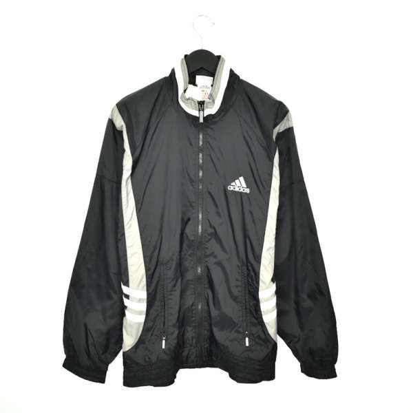 Vintage Adidas zip up tracksuit track jacket trackie sweater jumper sweatshirt pullover long sleeve in black and white