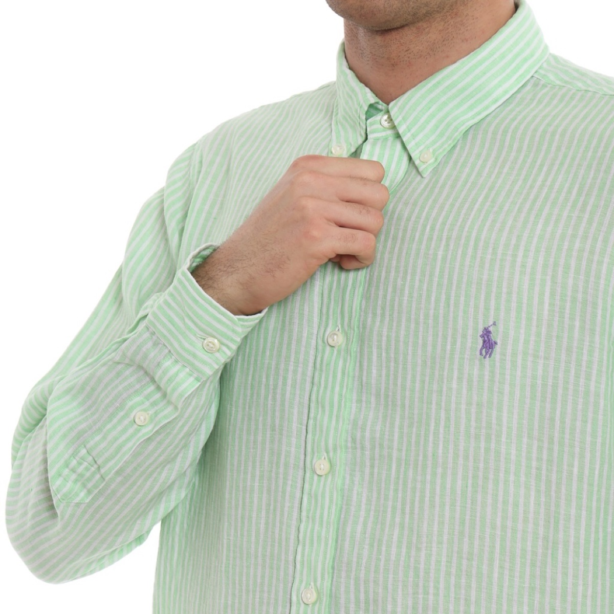 Polo Ralph Lauren Mint Green Striped Linen Shirt