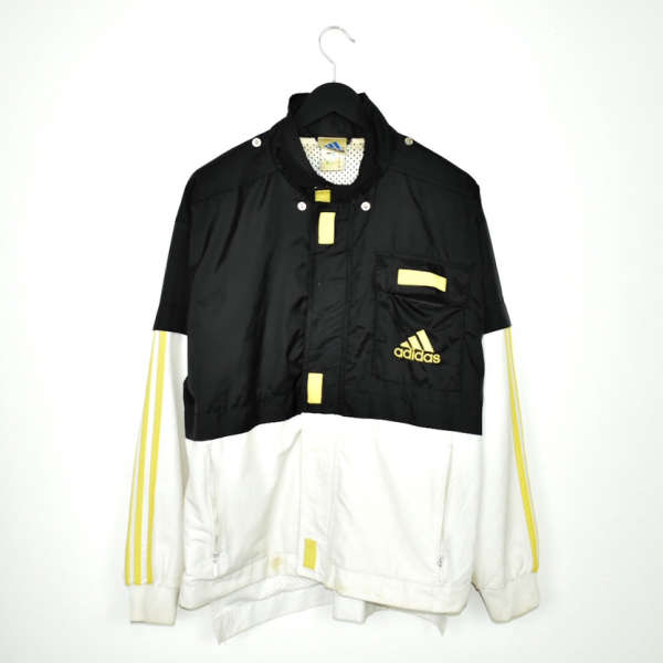 Vintage Adidas zip up tracksuit track jacket trackie sweater jumper sweatshirt pullover long sleeve in white black and yellow