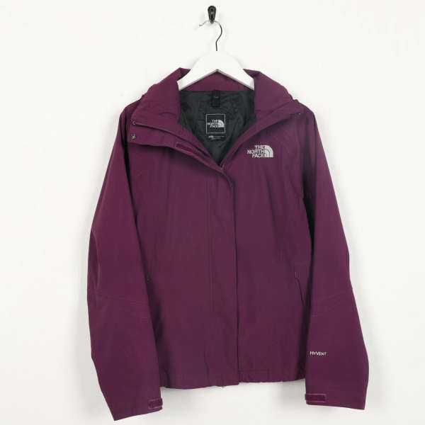 Vintage Women's THE NORTH FACE HyVent Hooded Coat Jacket Purple XS