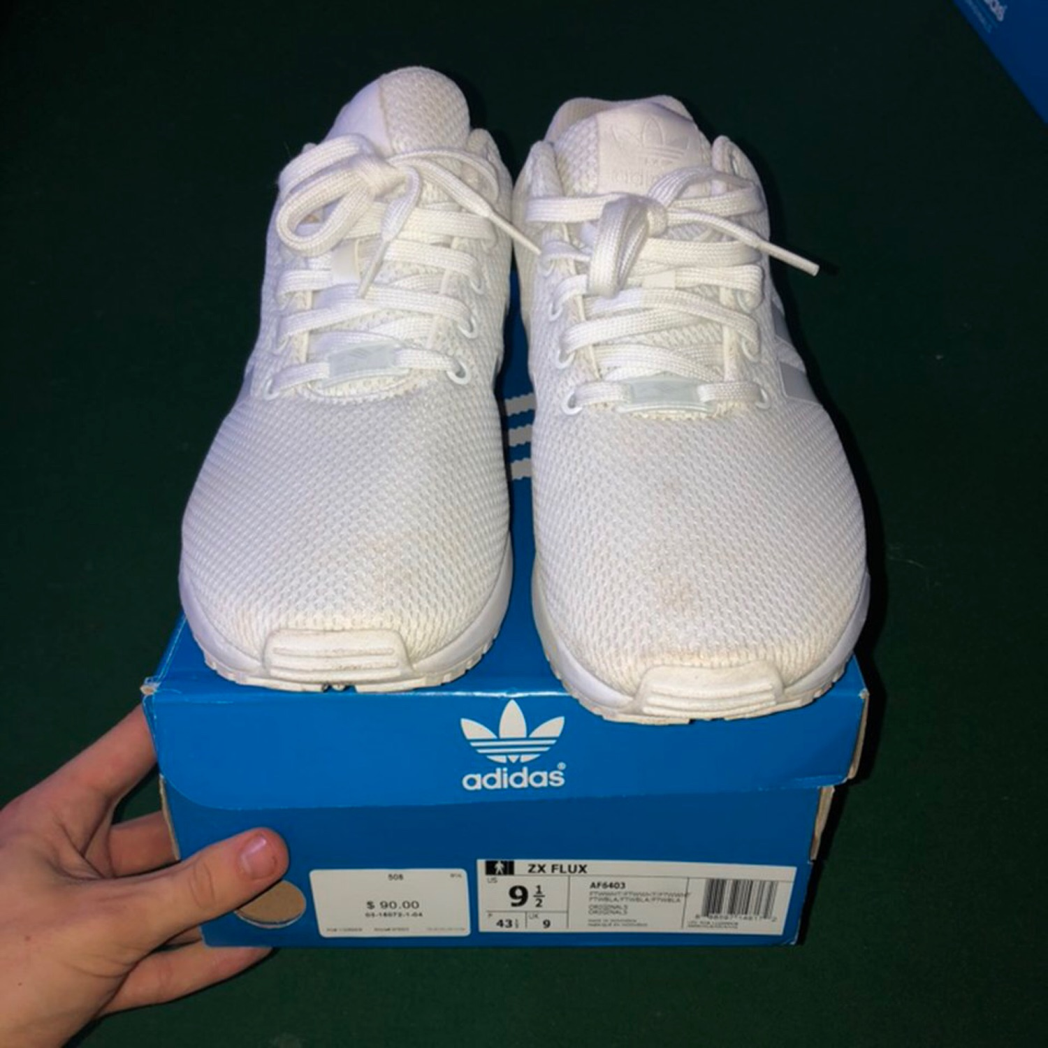 timeless design ea488 db281 Adidas All White Zx Flux
