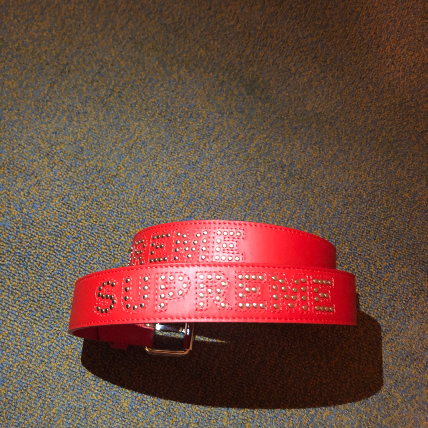 3d41b431d1b7 Supreme Studded Logo Belt In Red