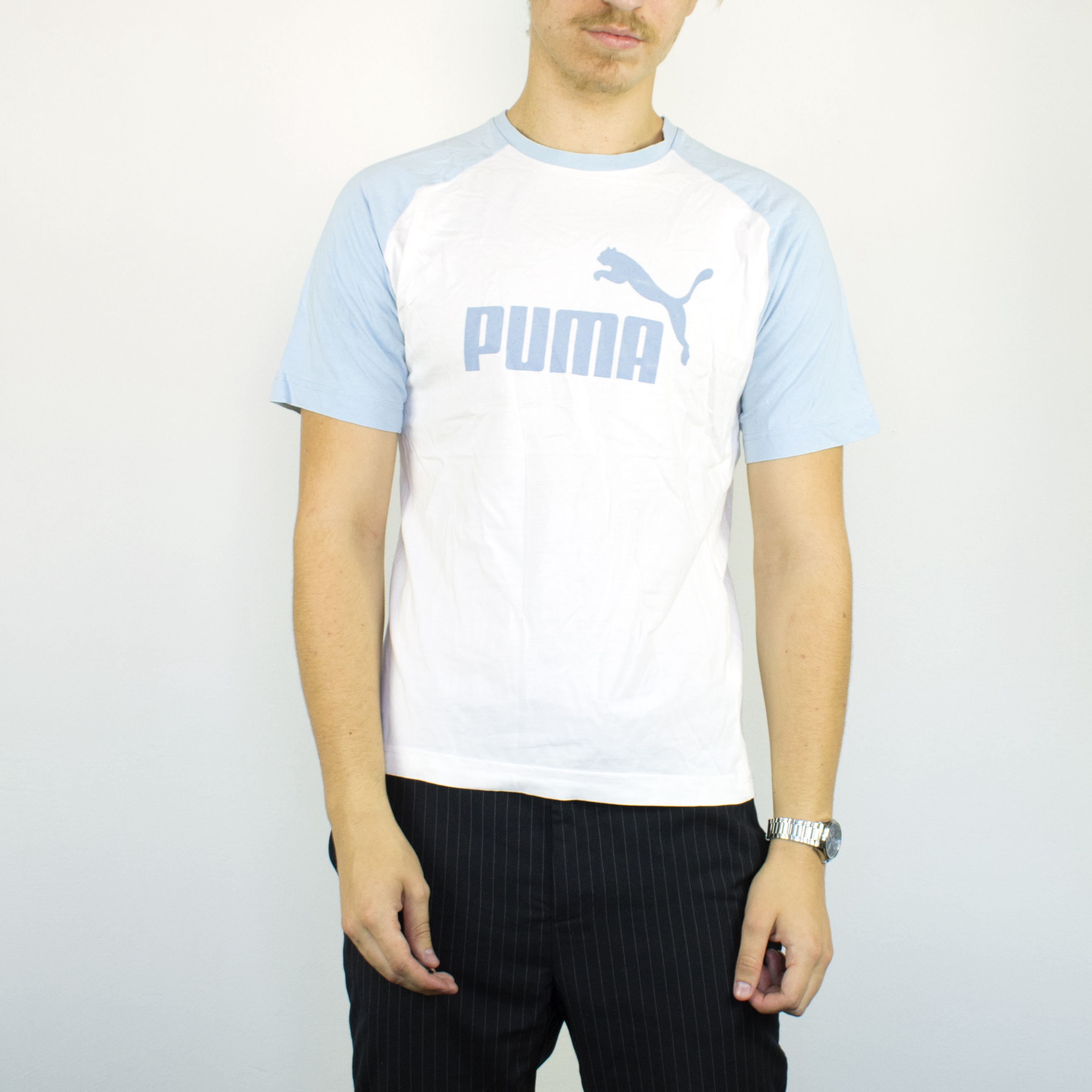 Unisex Vintage Puma t-shirt in white has a big logo on the front