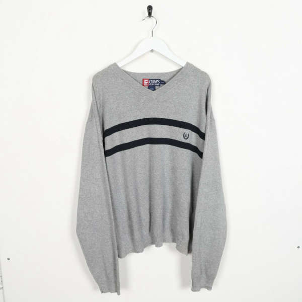 Vintage CHAPS RALPH LAUREN Small Logo Knitted Sweatshirt Jumper Grey | Large L