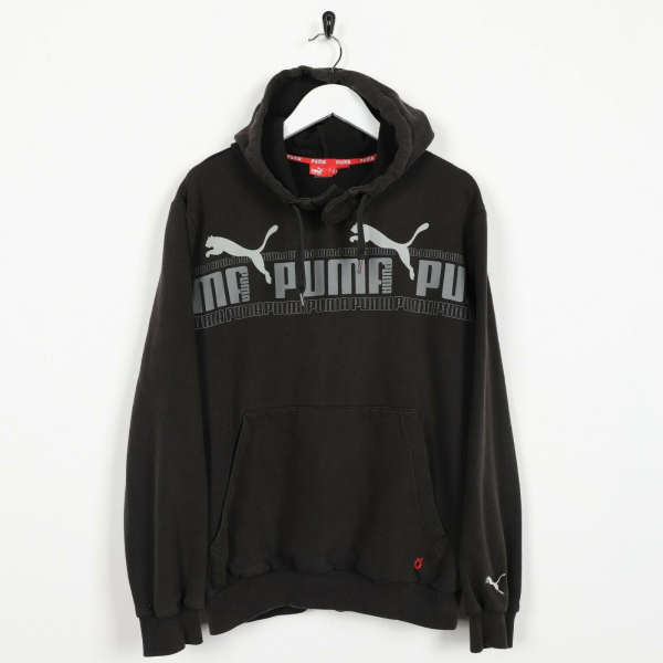 Vintage PUMA Big Logo Popper Neck Hoodie Sweatshirt Black | Small S