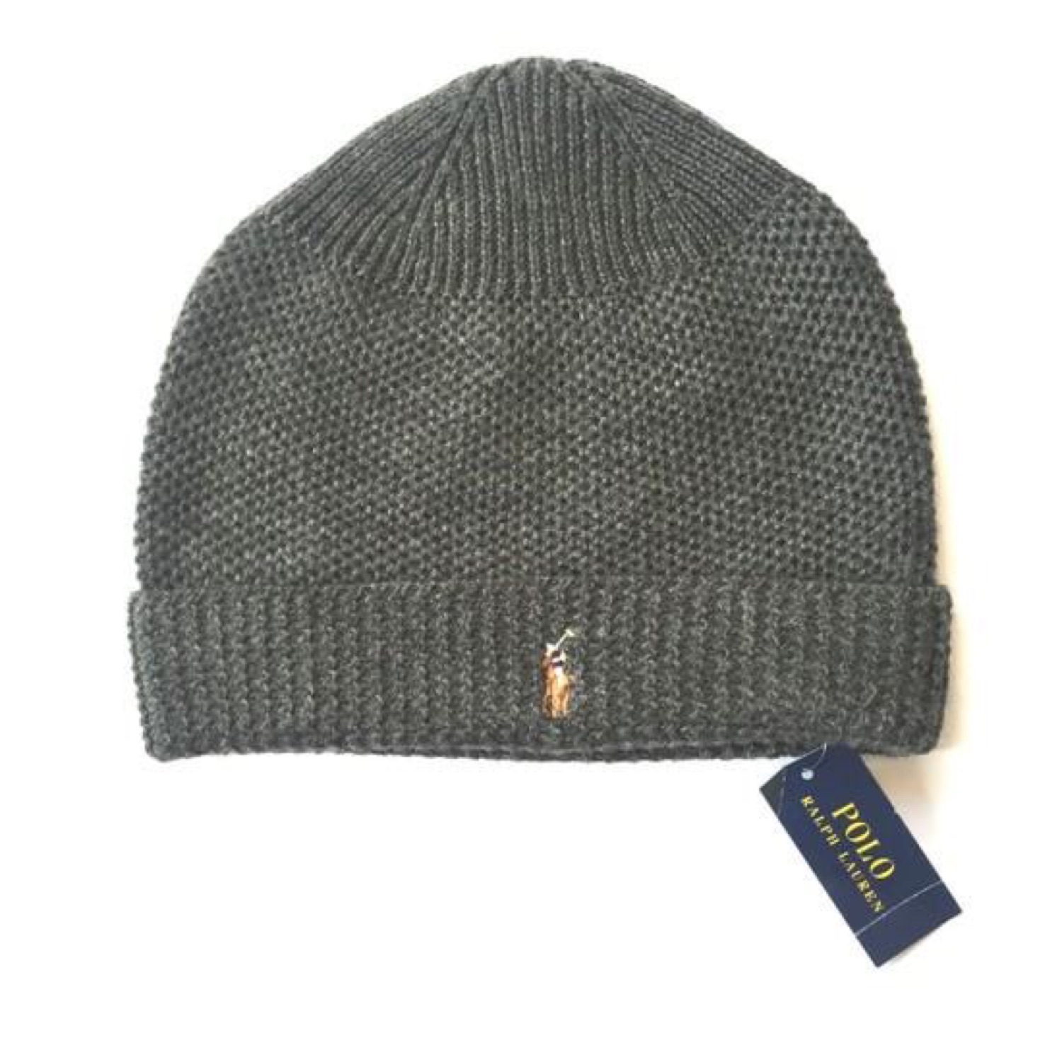 NWT $45 Polo Ralph Lauren Men/'s Gray Merino Wool Pony Logo Knit Beanie AUTHENTIC
