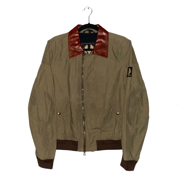 Belstaff Army Green Bomber Jacket Leather Size M