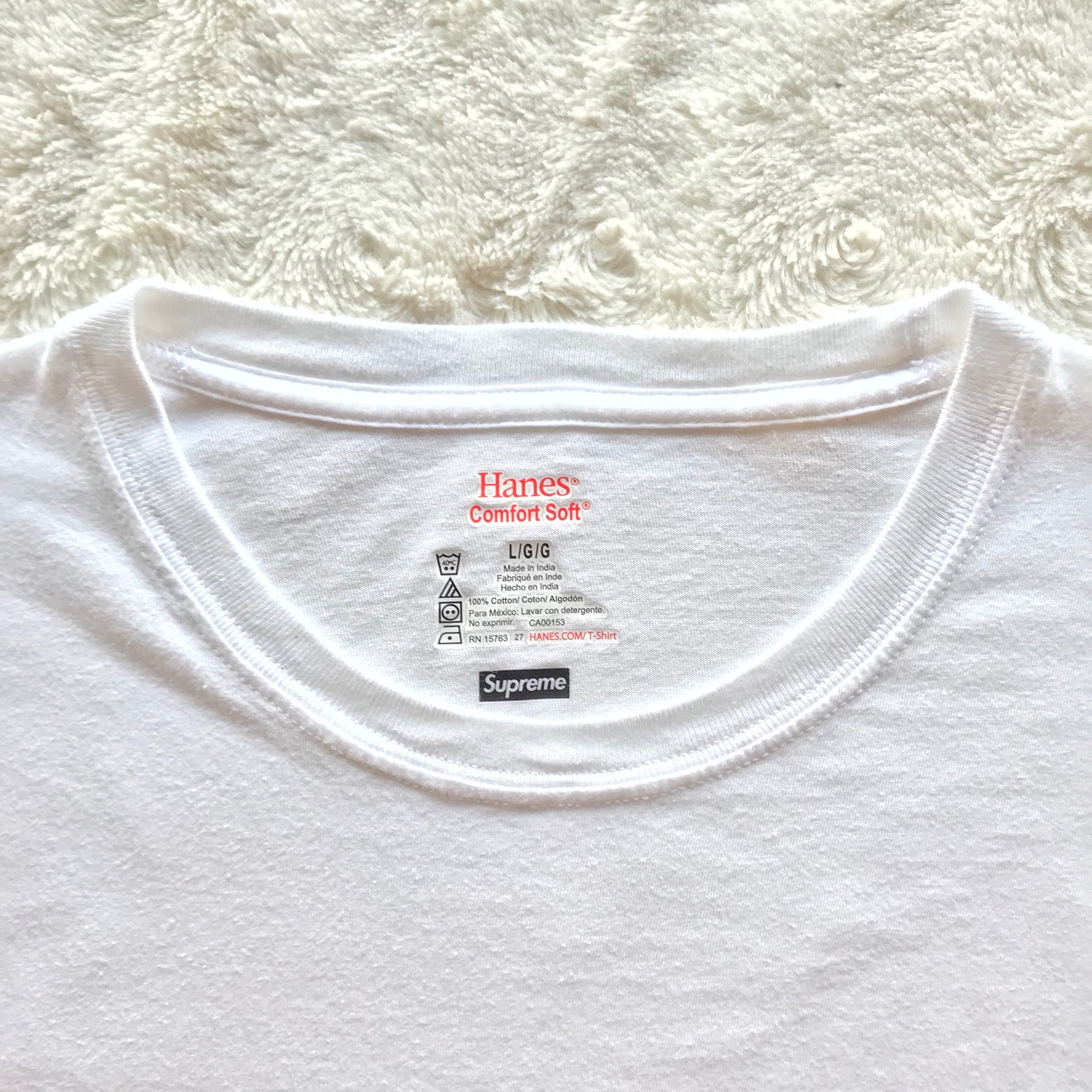 6d06136ac1 Supreme Hanes Tagless Tees (3 Pack) White Large