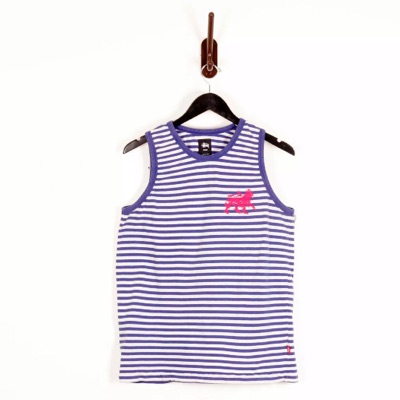 Stussy Nautical Blue White Stripe Tank Medium