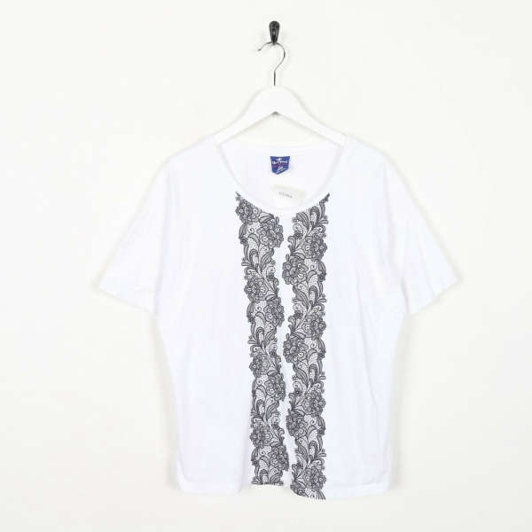 Vintage Women's CHAMPION Abstract Pattern T Shirt Tee White Large L