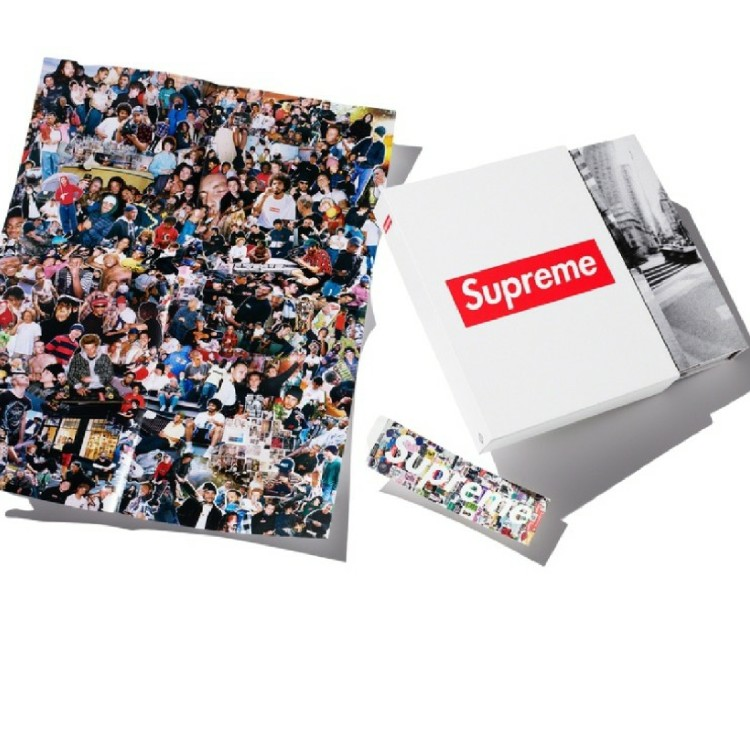 FW19 Supreme Book Vol. 2 + the poster and special box logo sticker + FW19 Supreme Lafayette street f&f bathroom door poster