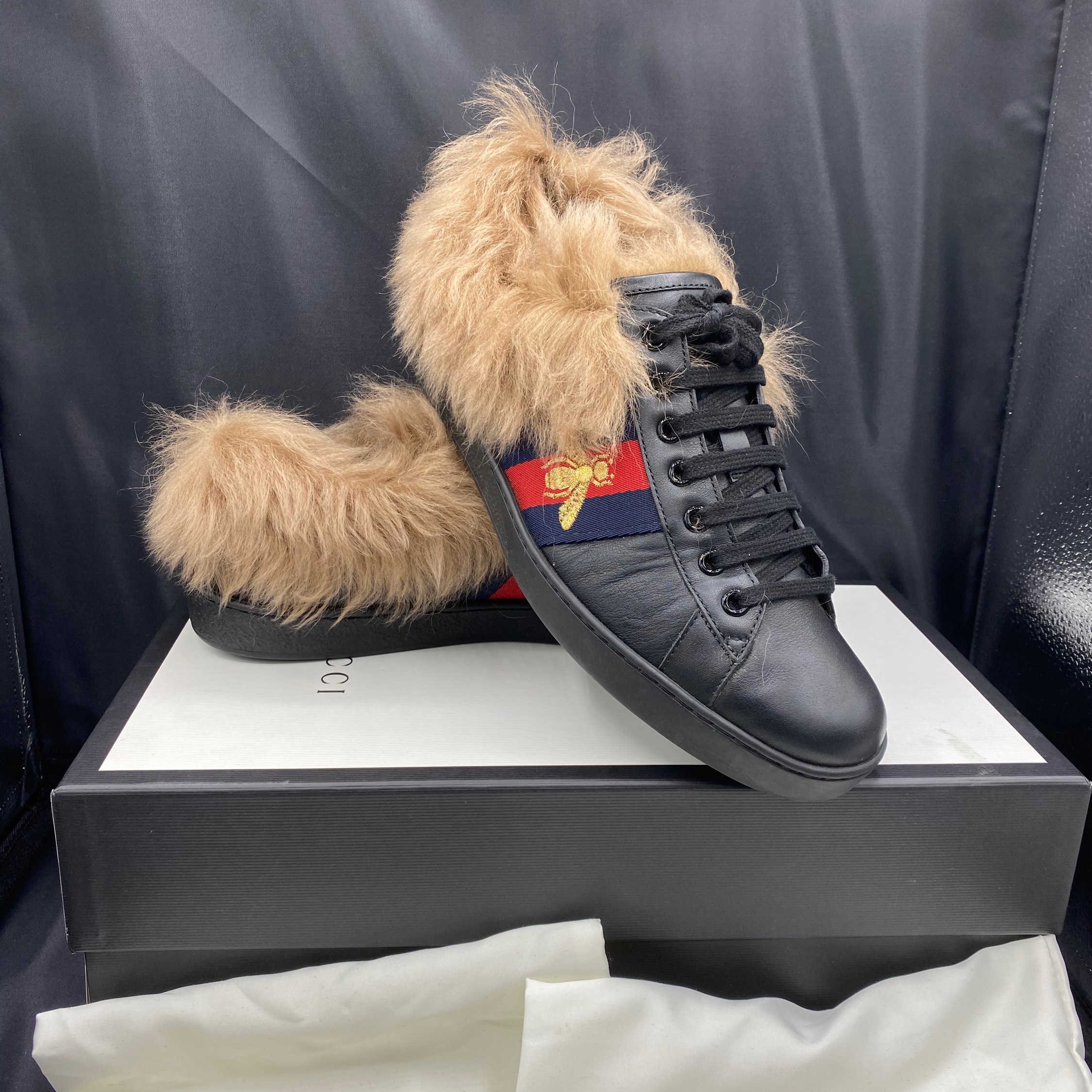 Gucci Fur Ace Sneakers