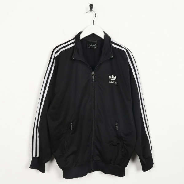 Vintage 80s ADIDAS Small Logo Tracksuit Top Jacket Black small S