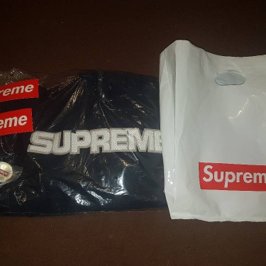Supreme Navy Perforated Leather Hoodie