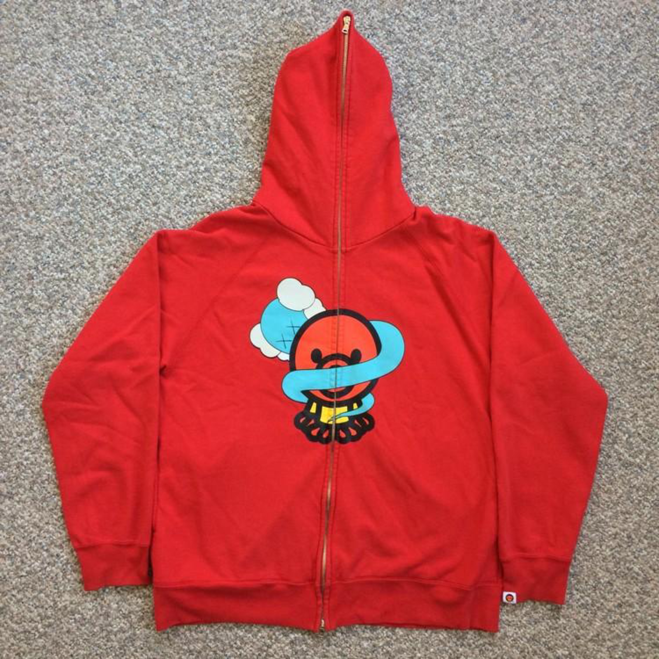 closer at running shoes coupon codes Bathing Ape X Kaws Hoodie In Vibrant Red