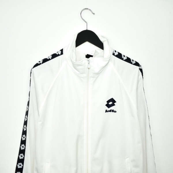 Vintage lotto zip up tracksuit track jacket trackie sweater jumper sweatshirt pullover long sleeve in black and white